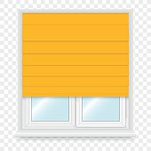 Realistic white plastic windows set with blind. Vector illustration.