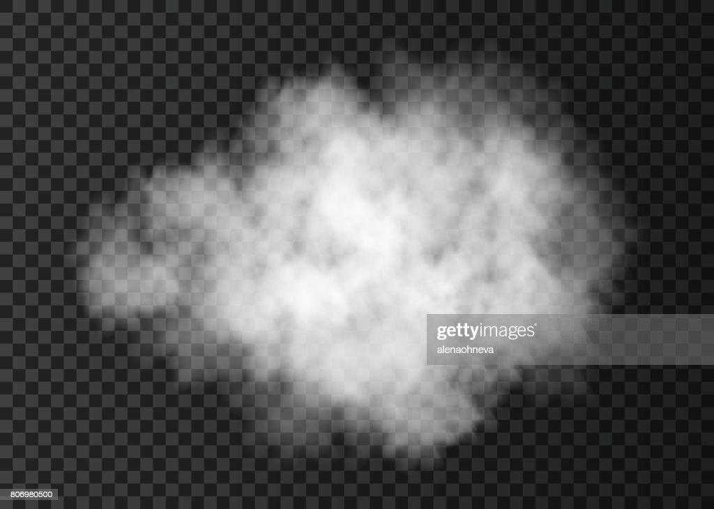 Realistic white  smoke cloud  isolated on transparent background.