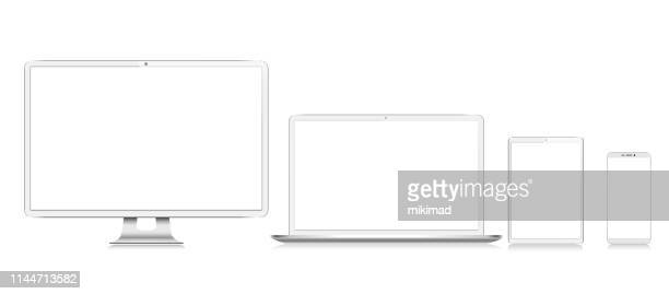 realistisches white vector digital tablet, handy, smart phone, laptop und computer monitor. moderne digitale geräte - ausrüstung und geräte stock-grafiken, -clipart, -cartoons und -symbole