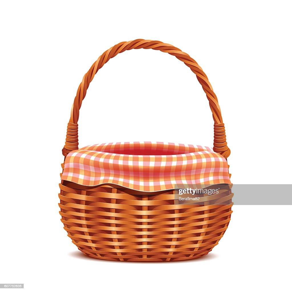 Realistic wicker basket.