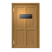 Realistic Wood Door with Blanc Black Plate . Vector