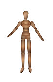 realistic wooden marionette isolated on the white background,