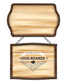 Realistic wooden signboards or wood plank with dark frame. Old blank wooden boards for banners, messages hanging on metal chains. Signpost, billboard, notice and information theme