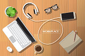 Realistic workplace organization. Top view with textured table, laptop, headphones connected smartphone, glasses, flowerpot, pencil, power bank, diary and coffee mug. Desk vector illustration of office stationery