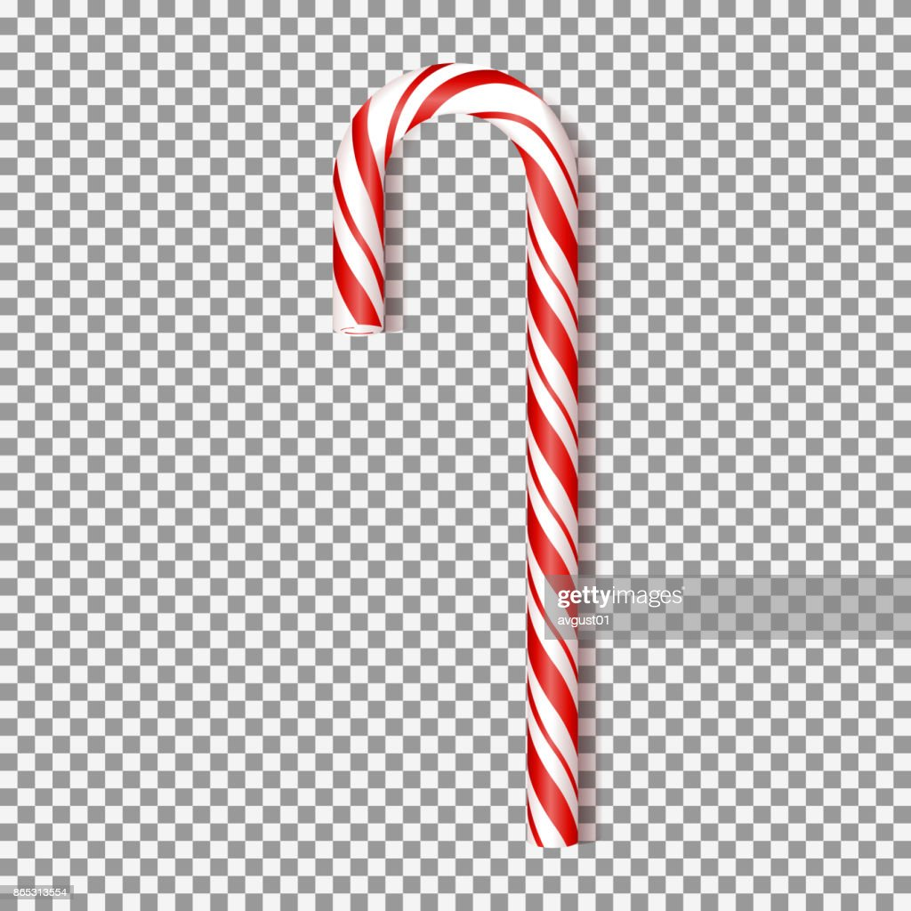 Realistic Xmas candy isolated on transparent backdrop