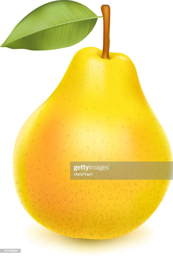 Realistic yellow pear