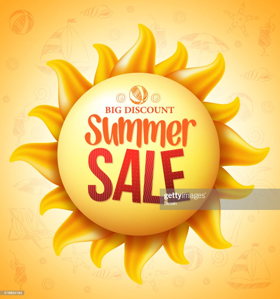 3D Realistic Yellow Sun with Summer Sale Discount