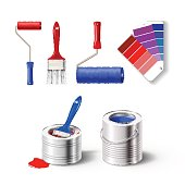 Realistick set of paint tools