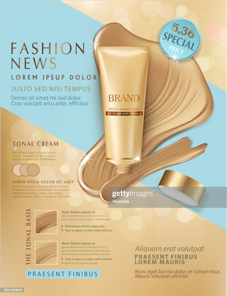 Realistic,vector 3d illustration with plastic tubes with professional CC cream and smears foundation cream. Element for modern design, advertising for sales, template cosmetic face cream, body. Banner, flyer, brochure for the promotion of products