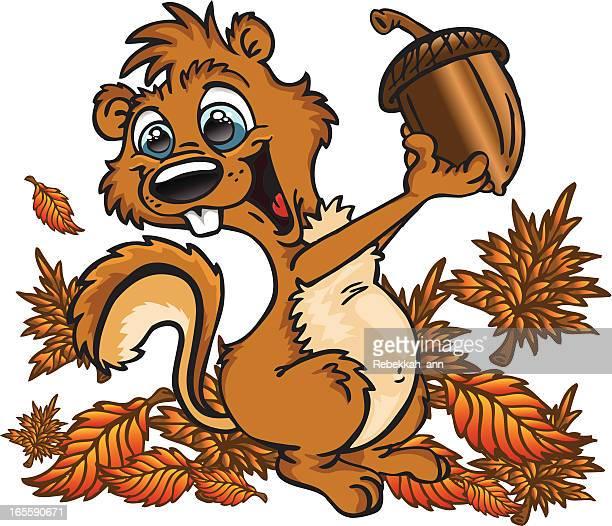 really big nut! - squirrel stock illustrations