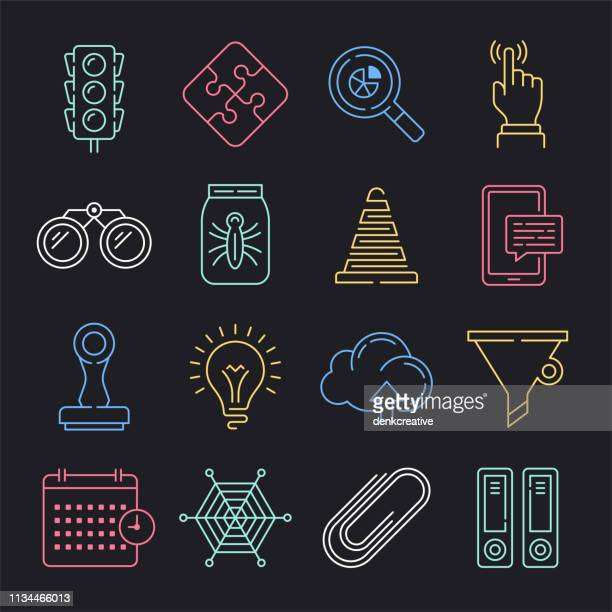 Real-time Data Systems Neon Style Vector Icon Set