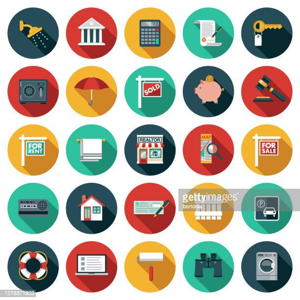 realtor icon set - geld und finanzen stock-grafiken, -clipart, -cartoons und -symbole