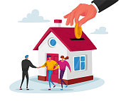 Realtor Selling House to Couple Buying Home. Manager Male Character Make Deal with Owner of House Giving Key, Mortgage