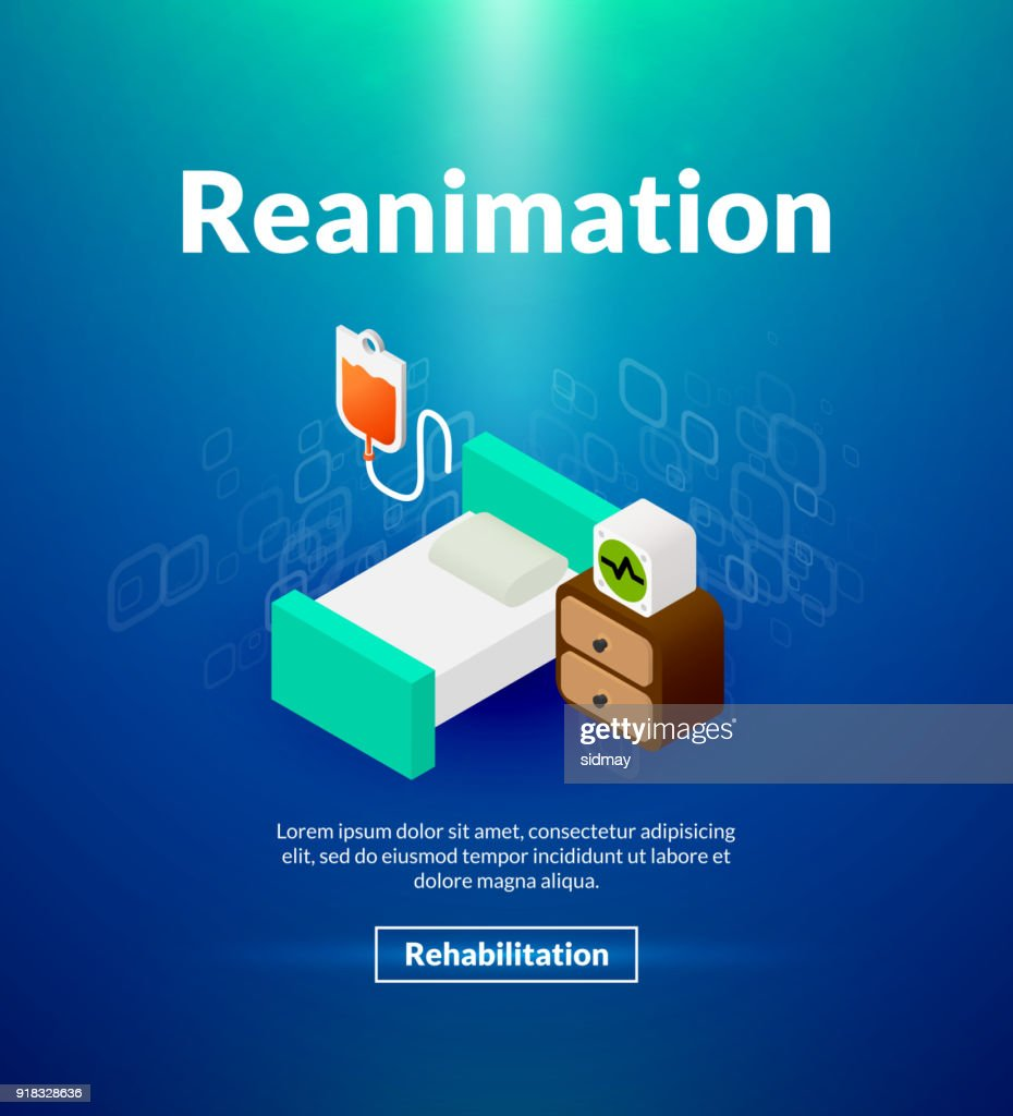 Reanimation poster of isometric color design