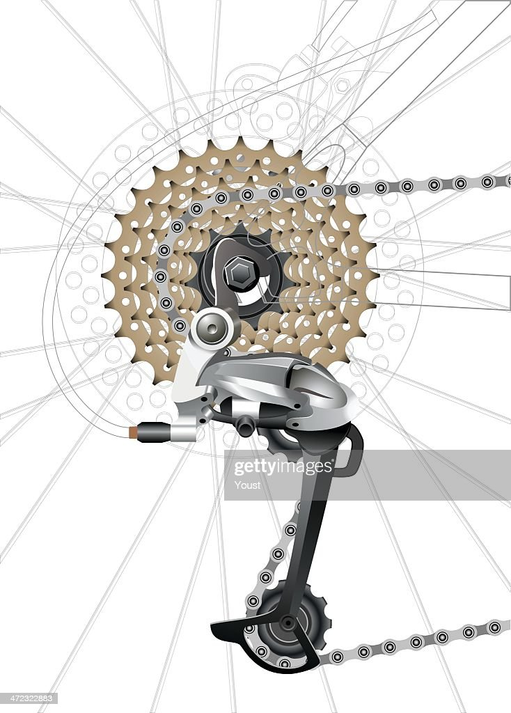 Rear Bicycle Derailleur : stock illustration