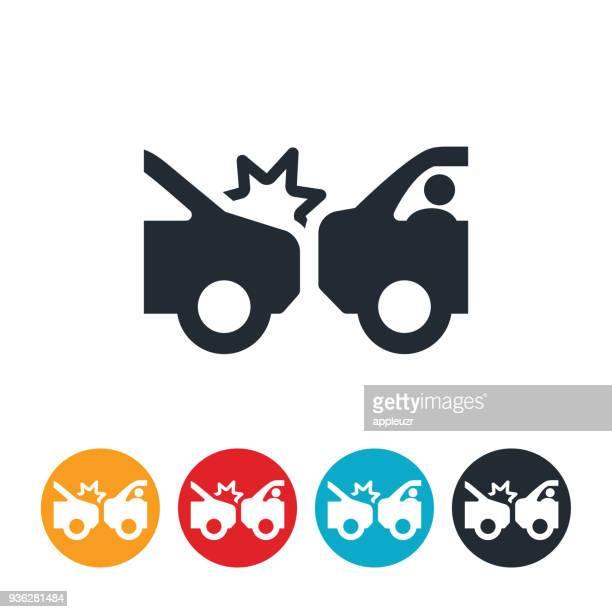 ilustrações de stock, clip art, desenhos animados e ícones de rear ended car accident icon - acidente de carro