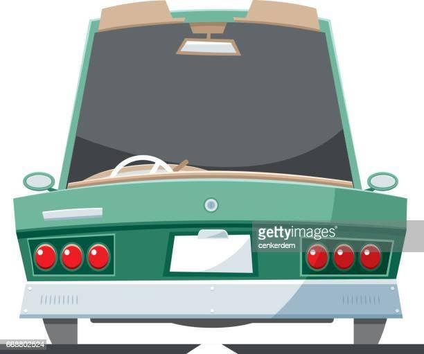 ilustraciones, imágenes clip art, dibujos animados e iconos de stock de convertible de vista trasera - circuito de carreras de coches
