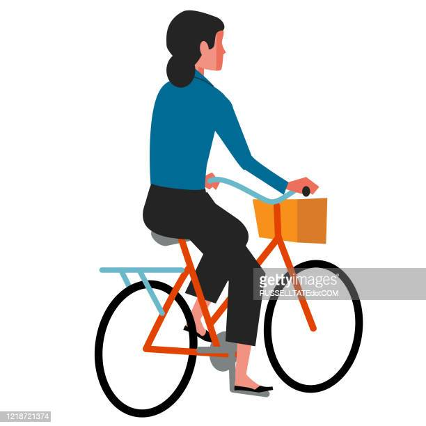 rear view cyclist - one teenage girl only stock illustrations