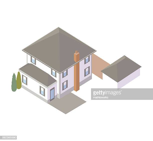 rear view of house illustration - mathisworks architecture stock illustrations