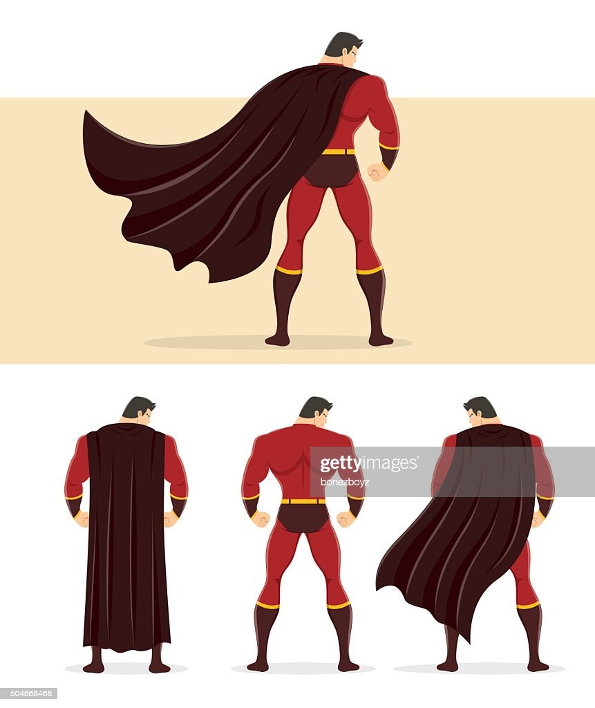Rear View of Superhero with Cape Flowing in the Wind