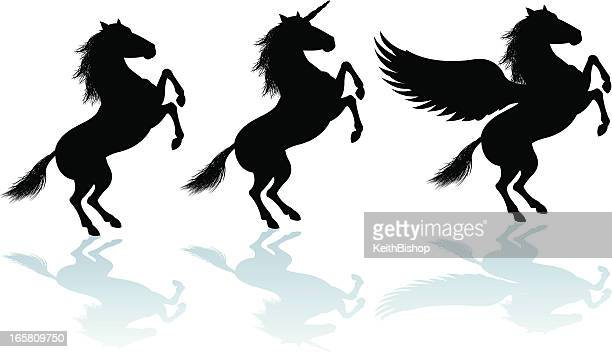 rearing horse, unicorn, pegasus silhouettes - pegasus stock illustrations, clip art, cartoons, & icons