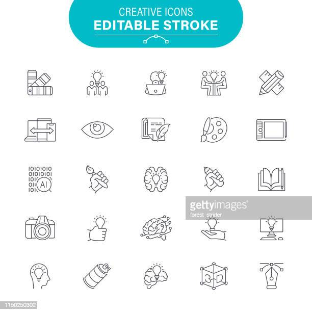 сreative icons - creative occupation stock illustrations, clip art, cartoons, & icons