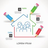 Сreative splash pencil and house with family icon.