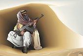 Rebel insurgent fighter in hiding