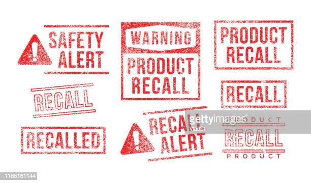 recall rubber stamps product safety alert warning - alertness stock illustrations