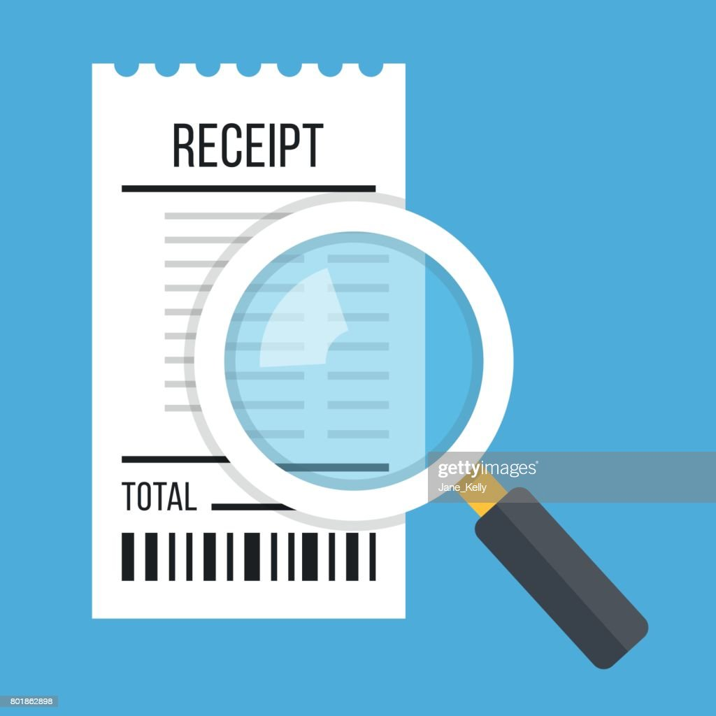 Receipt and magnifying glass. White bill and magnifier. Modern flat design concept. Vector illustration