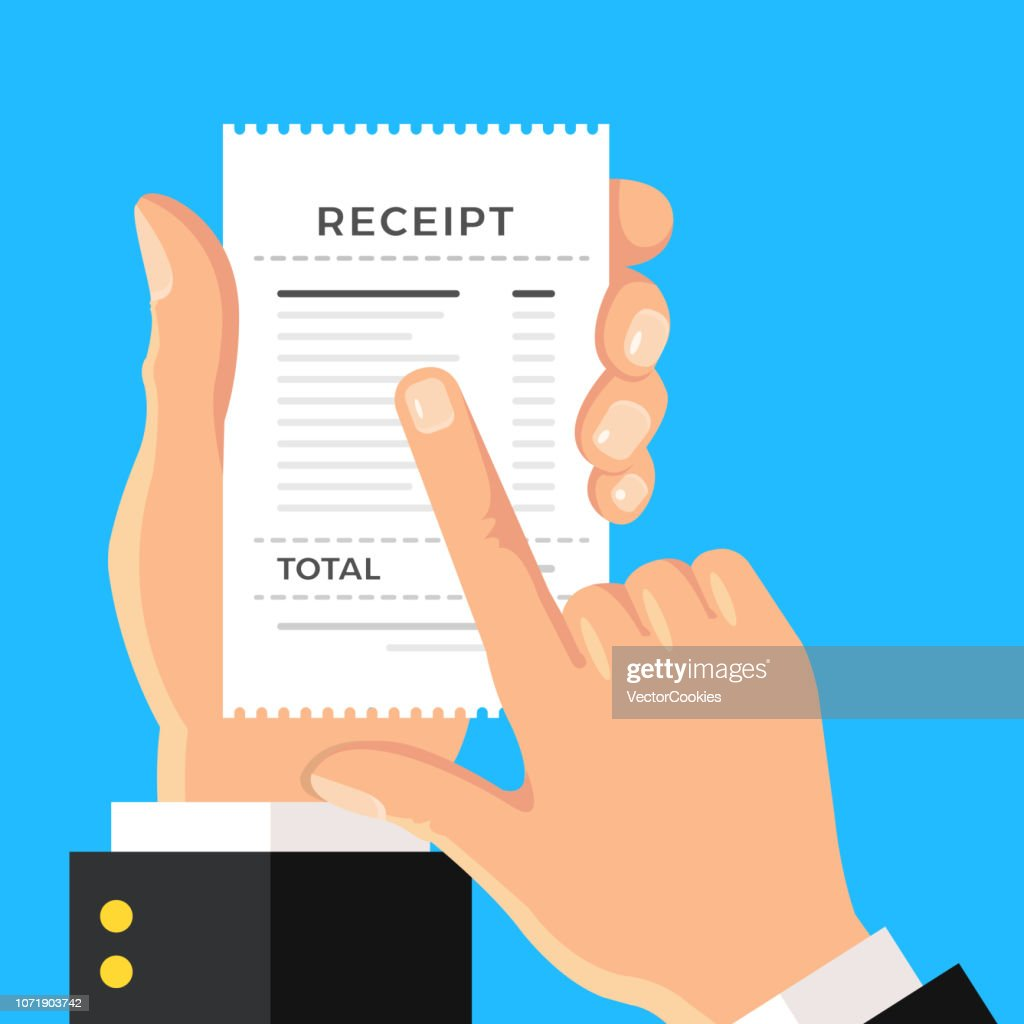 Receipt. Hand holding paper bill. Calculating expenses, cost, invoice, printed receipt concepts. Flat design. Vector illustration