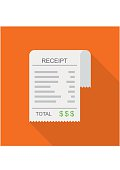 Receipt, invoice icon, total bill with dollar symbol