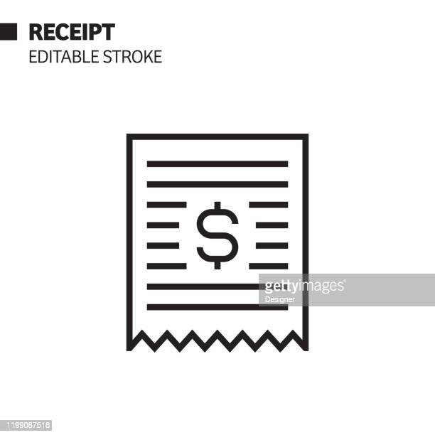 receipt line icon, outline vector symbol illustration. pixel perfect, editable stroke. - receipt stock illustrations