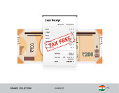Receipt with 200 Indian Rupee Banknote. Flat style sales printed shopping paper bill with red tax free stamp. Shopping and sales concept.