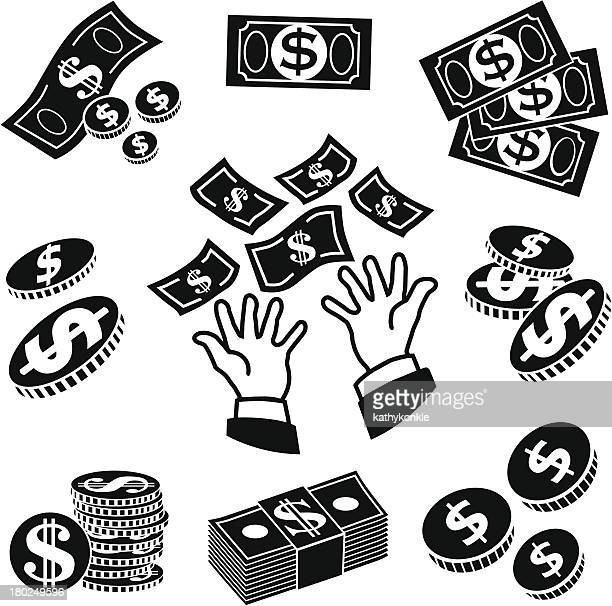 receiving money icons - american one dollar bill stock illustrations, clip art, cartoons, & icons