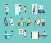 Reception by doctors, therapist, radiologist, surgeon, dentist, oculist, hospital staff