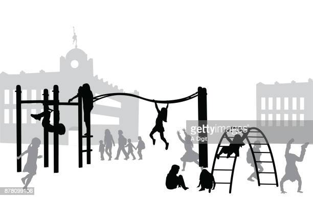 ilustraciones, imágenes clip art, dibujos animados e iconos de stock de patio de recreo - edificio de escuela primaria