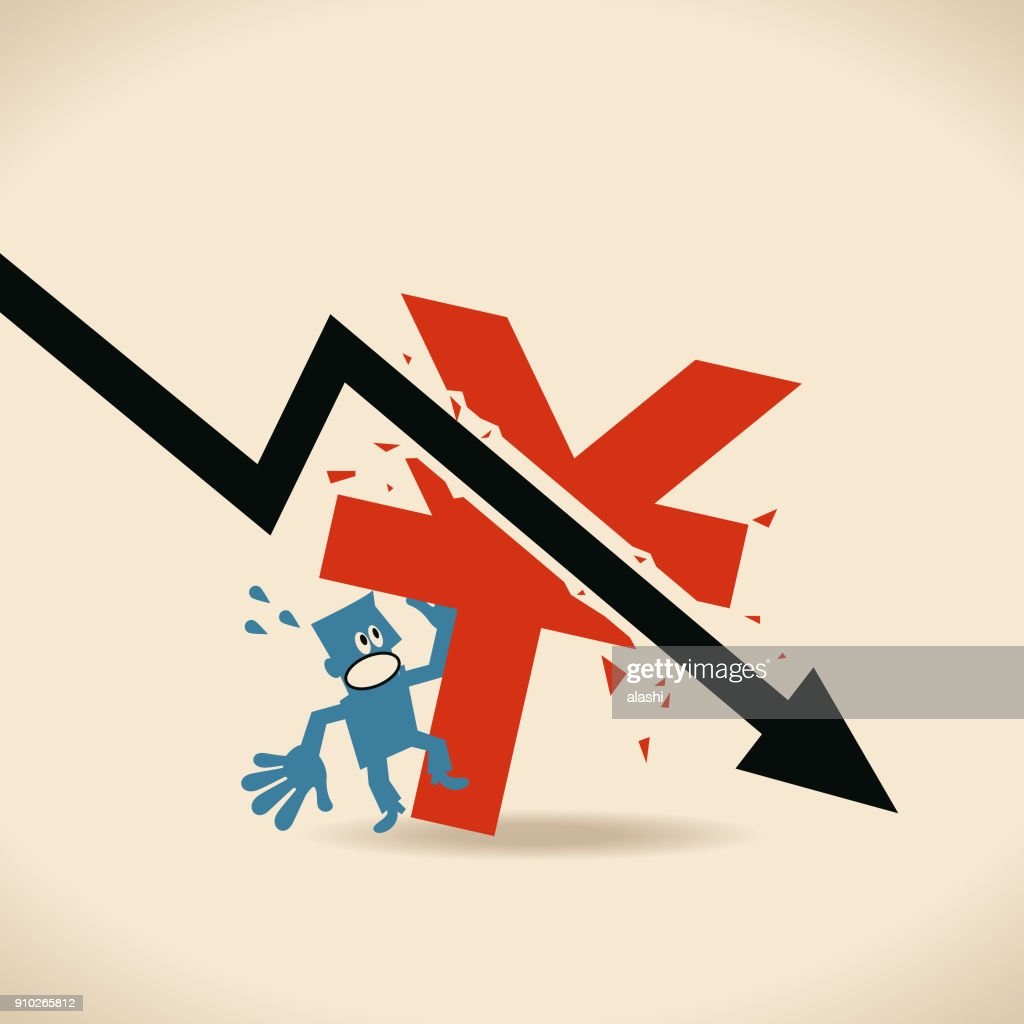 Recession Falling Black Arrow Crashed Chinese Currency Sign