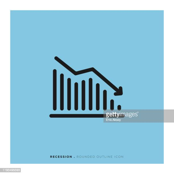 recession rounded line icon - defeat stock illustrations