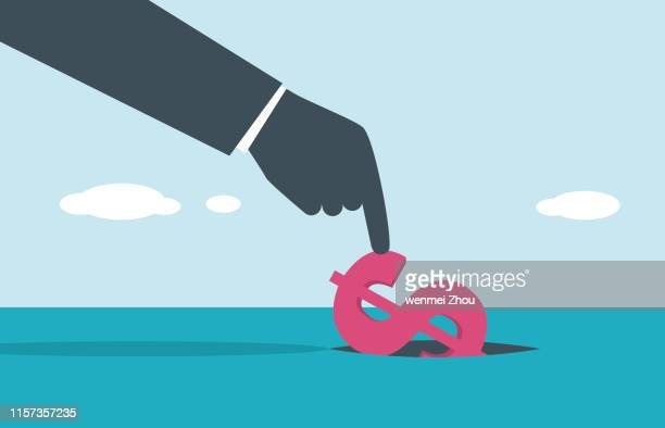 rezession - dollarsymbol stock-grafiken, -clipart, -cartoons und -symbole