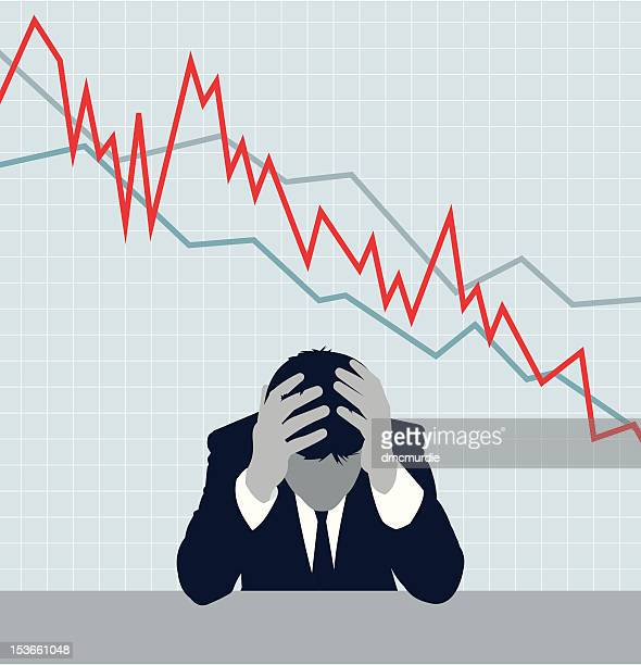 recession - stock market crash stock illustrations