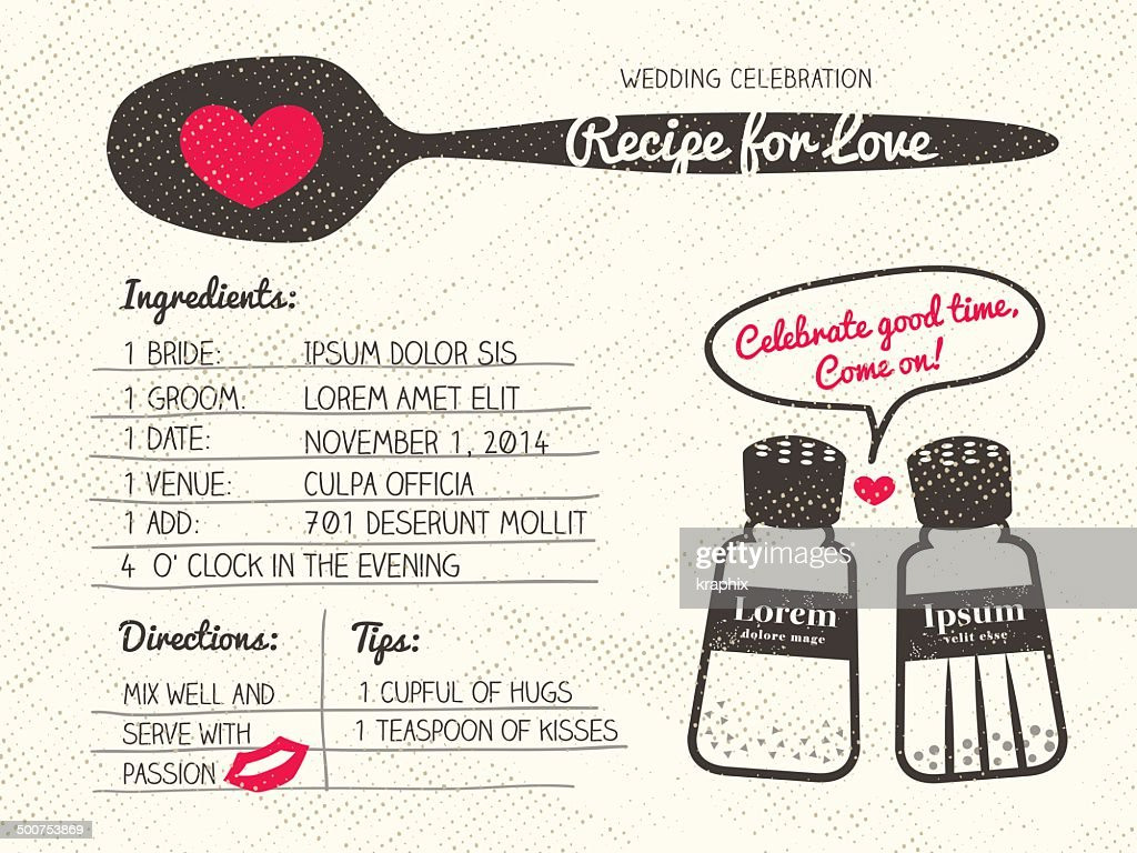 Recipe for Love creative Wedding Invitation