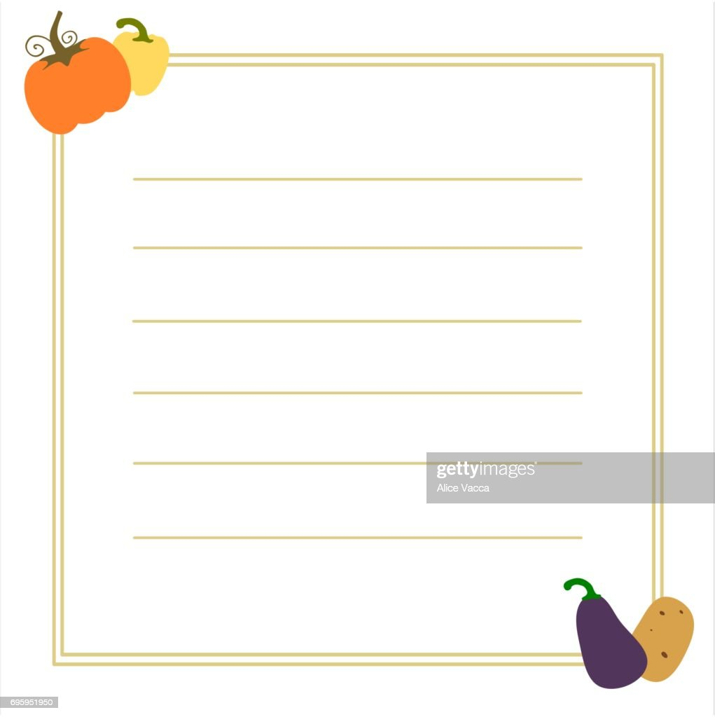 recipe vector frame card printable template