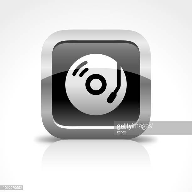 record and music glossy button icon - soundtrack stock illustrations, clip art, cartoons, & icons