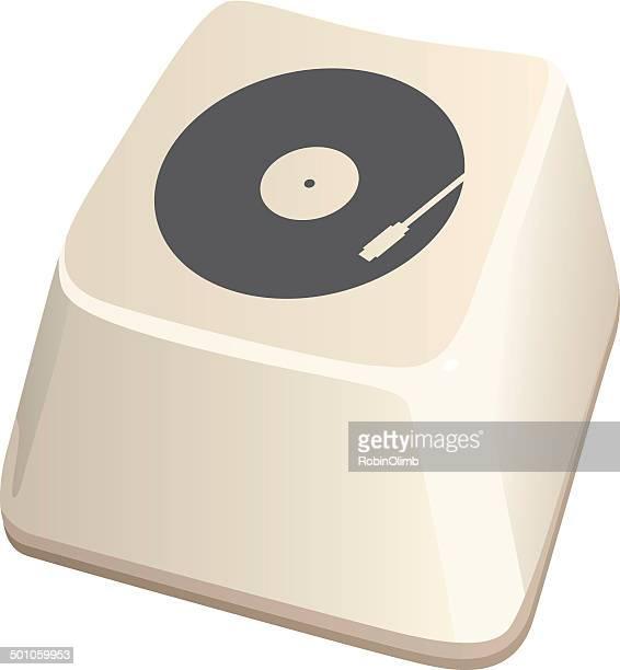 stockillustraties, clipart, cartoons en iconen met record player computer key icon - opslagmedia voor analoge audio