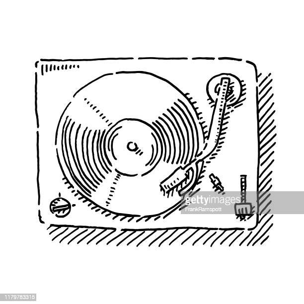 record player view from above drawing - record analog audio stock illustrations