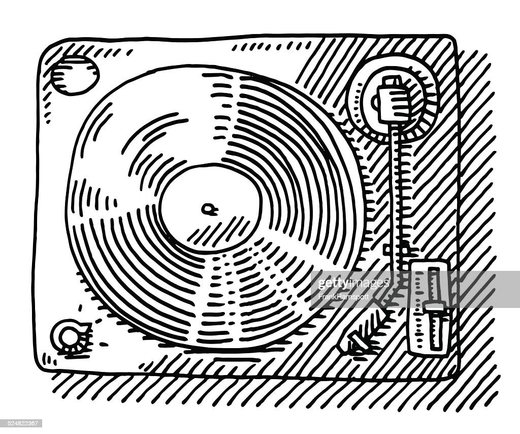 Record Player View From Above Drawing Stock Illustration