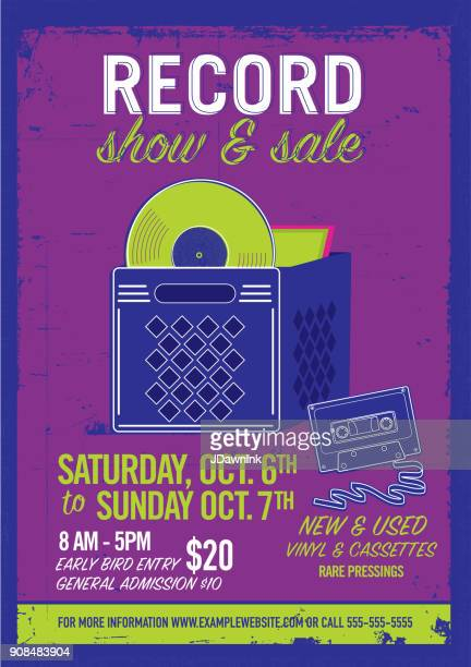 Record show and sale poster advertisement design template