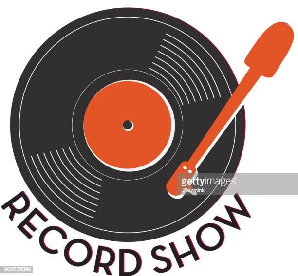 レコード表示テキストとアイコン デザイン - アナログレコード点のイラスト素材/クリップアート素材/マンガ素材/アイコン素材