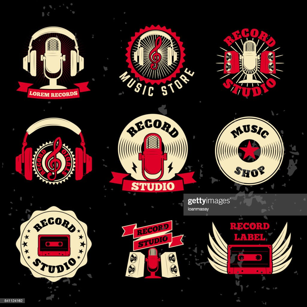 Record studio labels. Old style microphone, headphones, cassette